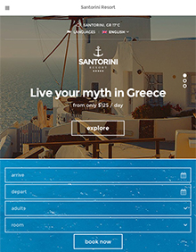 Screenshot of Hotel theme for WordPress Santorini Resort on Tablet