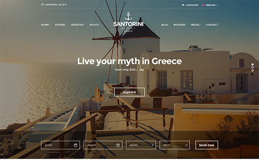 Screenshot of Hotel theme for WordPress Santorini Resort on Laptop