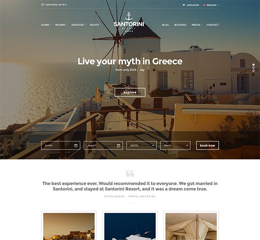 Screenshot of Hotel theme for WordPress Santorini Resort