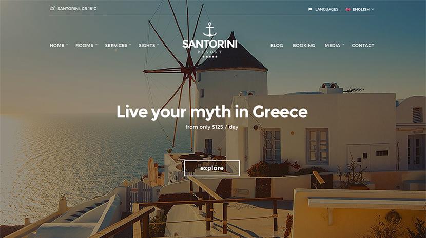 Screenshot of Hotel theme for WordPress Santorini Resort on Desktop
