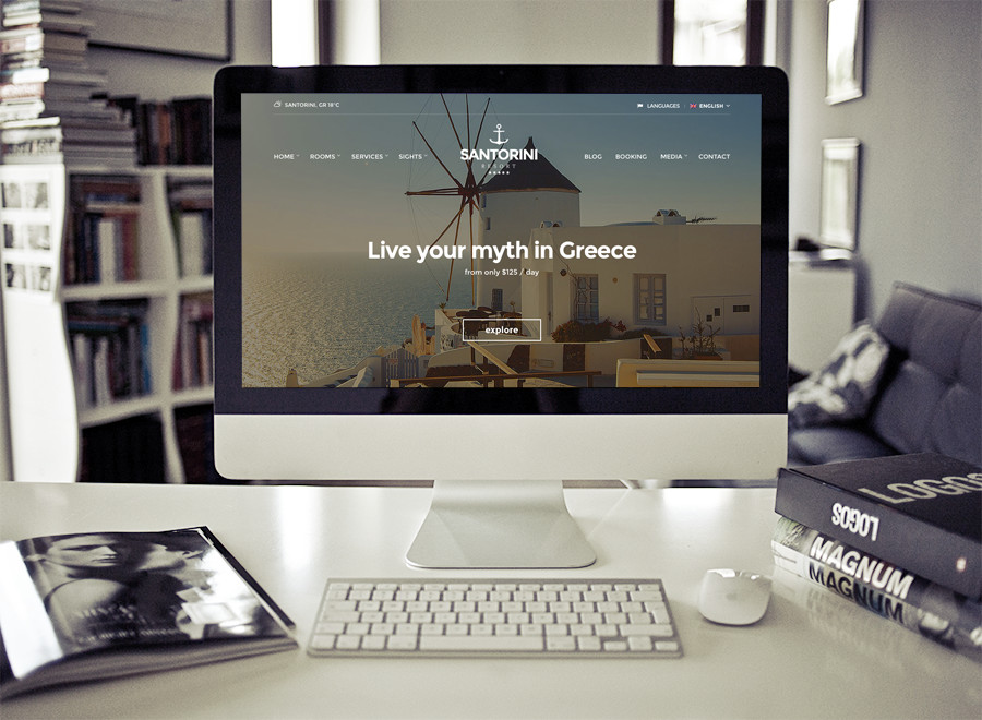 Screenshot of Hotel theme for WordPress Santorini Resort on Desktop