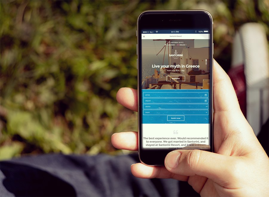 Screenshot of Hotel theme for WordPress Santorini Resort on Smartphone