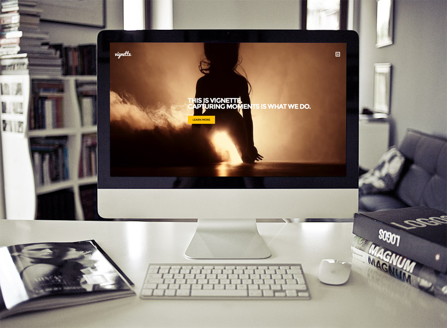 Screenshot of Photography WordPress Theme Vignette on Desktop