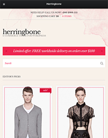Screenshot of WooCommerce theme for WordPress Herringbone on Tablet