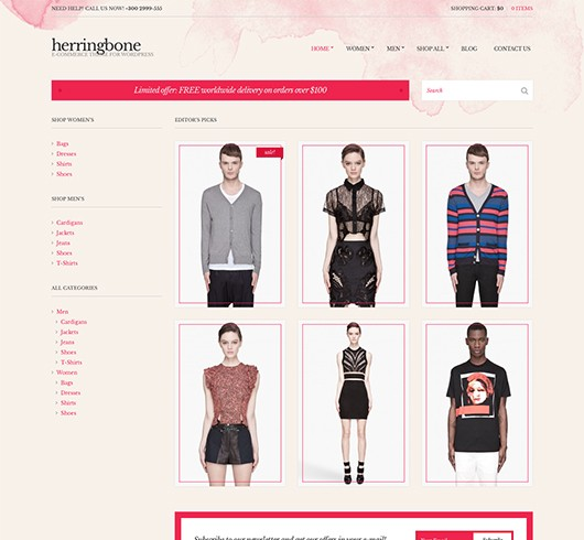 Screenshot of WooCommerce theme for WordPress Herringbone