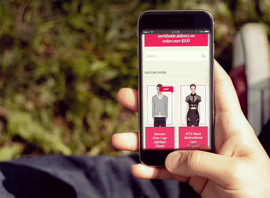 Screenshot of WooCommerce theme for WordPress Herringbone on Smartphone