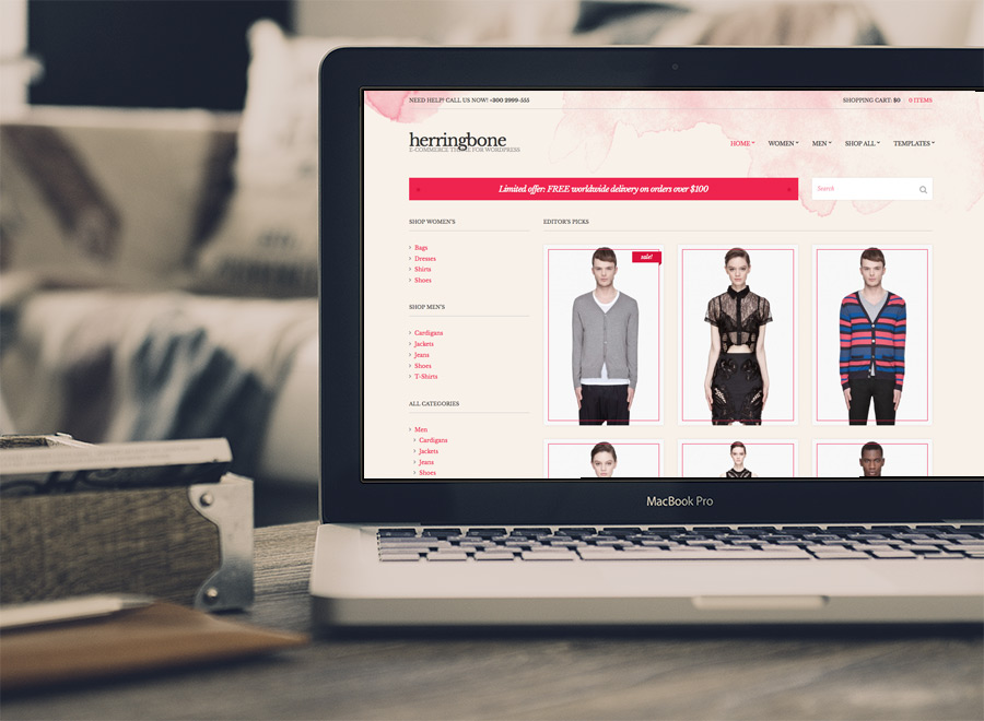 Screenshot of WooCommerce theme for WordPress Herringbone on Laptop