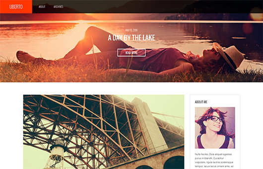 Screenshot of Blogging WordPress theme Uberto on Laptop