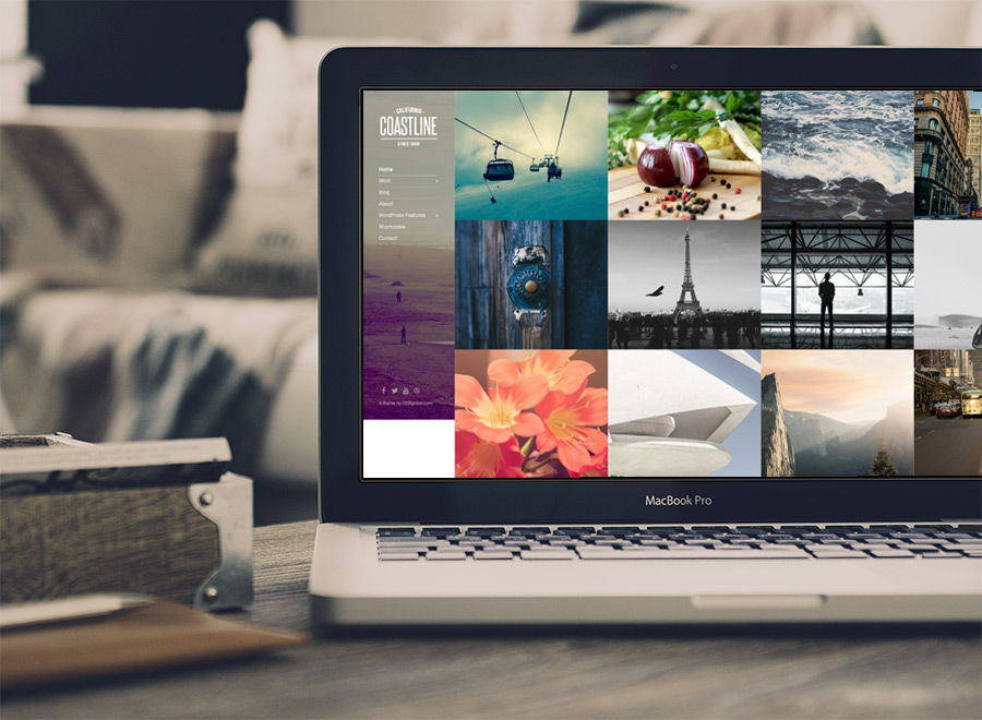 Screenshot of Photography theme for WordPress Coastline on Laptop