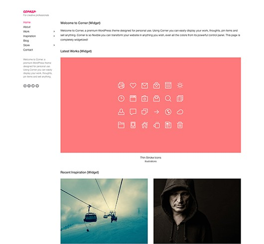 Screenshot of Portfolio WordPress theme Corner