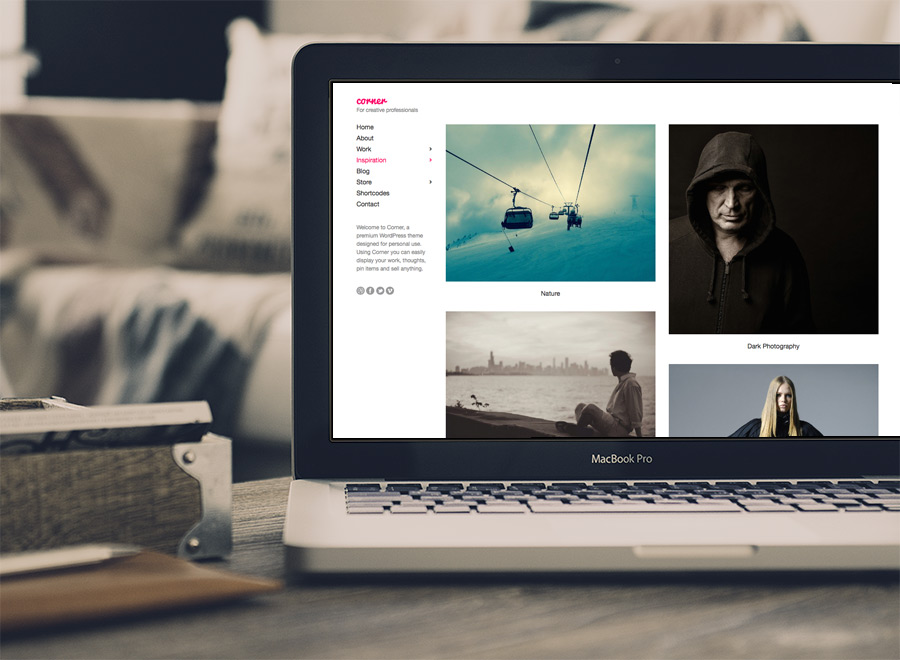 Screenshot of Portfolio WordPress theme Corner on Laptop