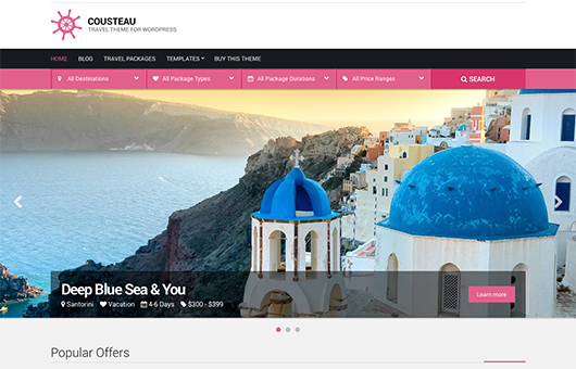 Screenshot of WordPress theme for Travel Agencies Cousteau on Laptop