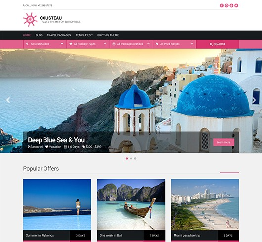 Screenshot of WordPress theme for Travel Agencies Cousteau