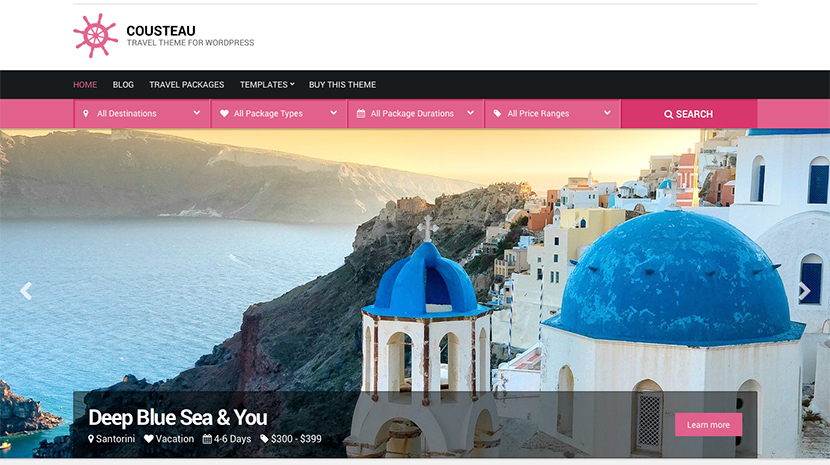 Screenshot of WordPress theme for Travel Agencies Cousteau on Desktop