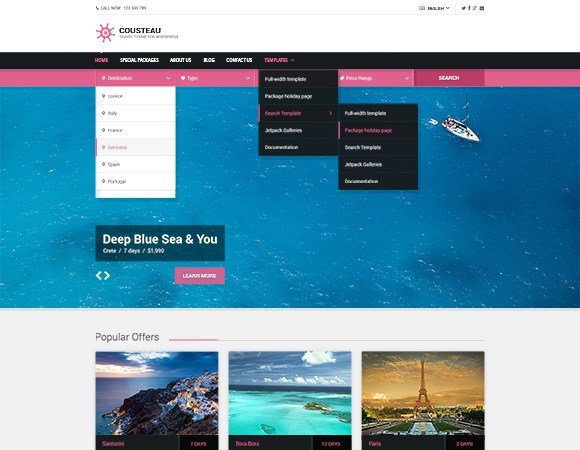 Cousteau - Travel Theme for WordPress Preview