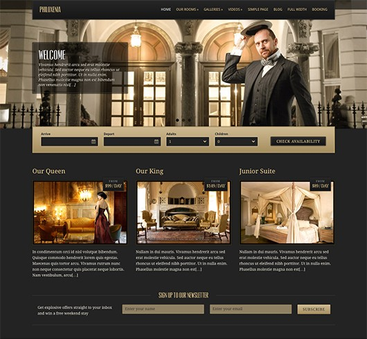Screenshot of Hotel WordPress theme Philoxenia