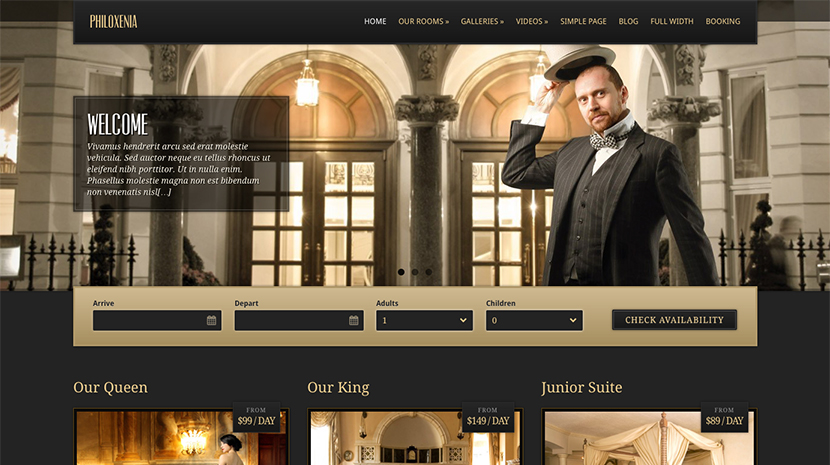 Screenshot of Hotel WordPress theme Philoxenia on Desktop
