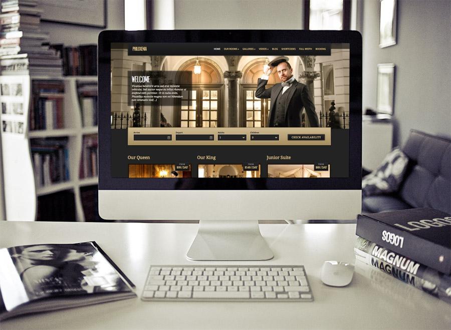 Screenshot of Hotel WordPress theme Philoxenia on Desktop