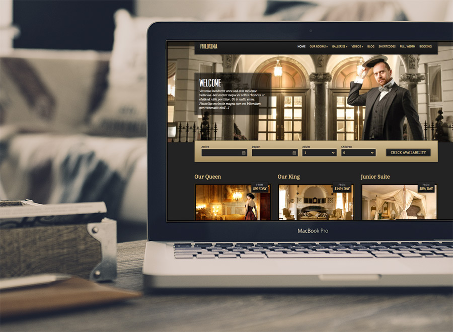 Screenshot of Hotel WordPress theme Philoxenia on Laptop