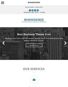 Screenshot of Business WordPress Theme Business3ree on Tablet