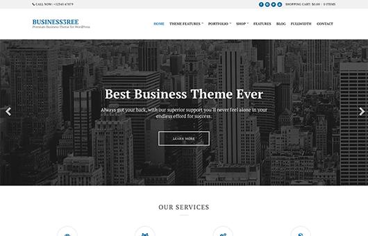 Screenshot of Business WordPress Theme Business3ree on Laptop