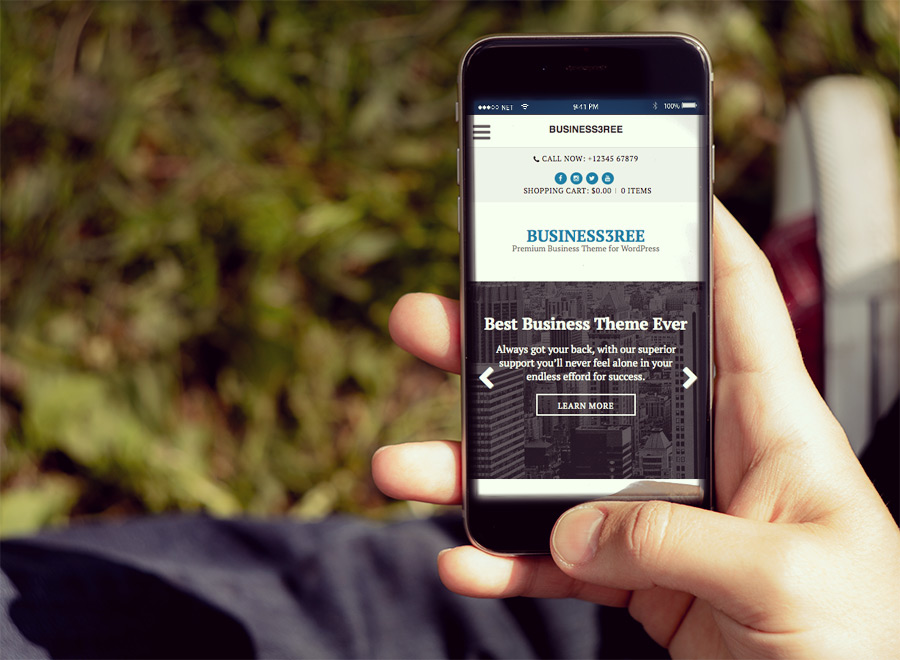 Screenshot of Business WordPress Theme Business3ree on Smartphone