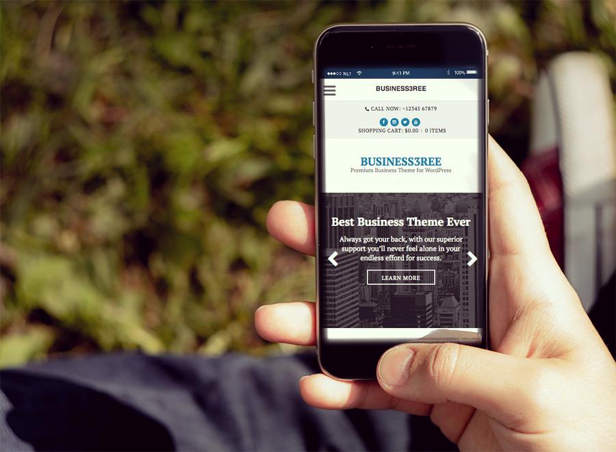 Screenshot of Business WordPress Theme Business3ree on Smartphone