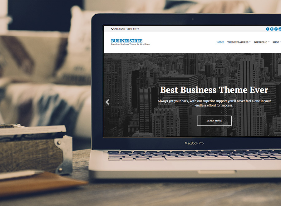 Screenshot of Business WordPress Theme Business3ree on Laptop