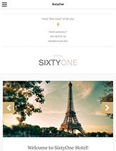 Screenshot of Hotel/Resort theme for WordPress SixtyOne on Mini Tablet