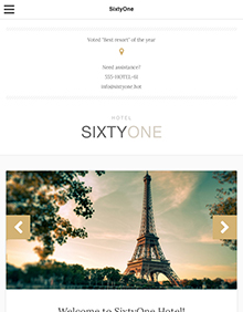 Screenshot of Hotel/Resort theme for WordPress SixtyOne on Tablet