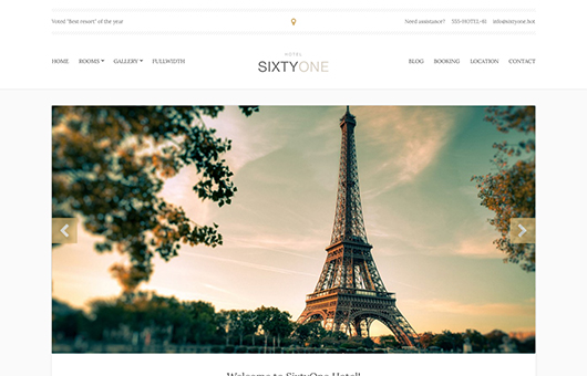 Screenshot of Hotel/Resort theme for WordPress SixtyOne on Laptop
