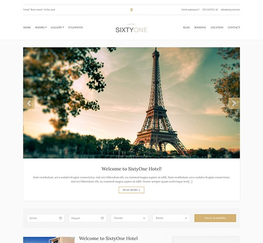 Screenshot of Hotel/Resort theme for WordPress SixtyOne