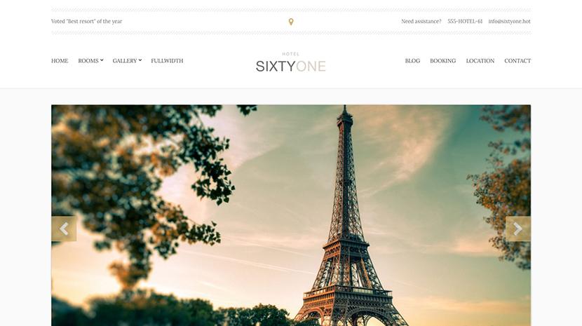 Screenshot of Hotel/Resort theme for WordPress SixtyOne on Desktop