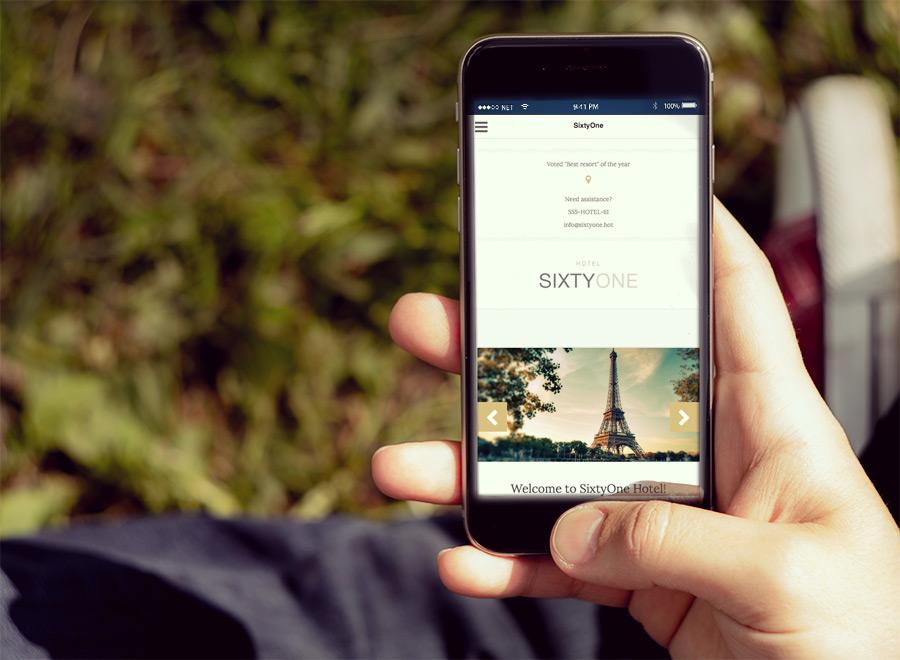 Screenshot of Hotel/Resort theme for WordPress SixtyOne on Smartphone
