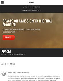 Screenshot of Business/WooCommerce theme for WordPress Space9 on Tablet