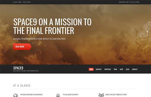 Screenshot of Business/WooCommerce theme for WordPress Space9 on Laptop