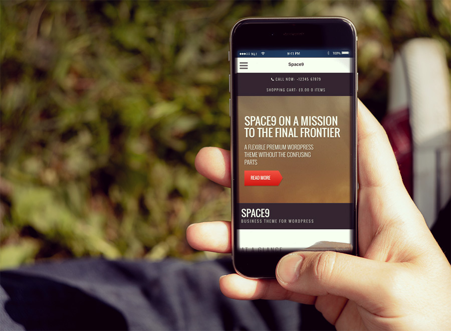 Screenshot of Business/WooCommerce theme for WordPress Space9 on Smartphone