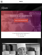 Screenshot of Restaurant/Bar theme for WordPress Resto on Mini Tablet