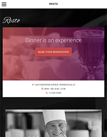 Screenshot of Restaurant/Bar theme for WordPress Resto on Tablet