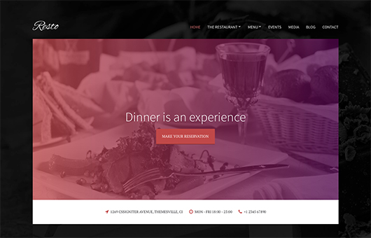 Screenshot of Restaurant/Bar theme for WordPress Resto on Laptop