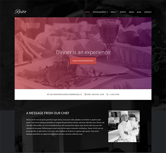 Screenshot of Restaurant/Bar theme for WordPress Resto