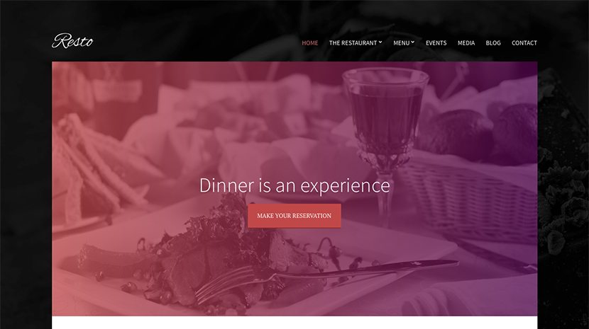 Screenshot of Restaurant/Bar theme for WordPress Resto on Desktop
