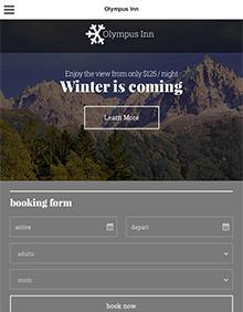 Screenshot of Hotel theme for WordPress Olympus Inn on Tablet