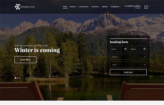 Screenshot of Hotel theme for WordPress Olympus Inn on Laptop