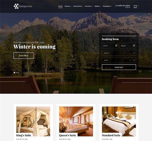 Screenshot of Hotel theme for WordPress Olympus Inn