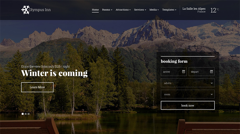 Screenshot of Hotel theme for WordPress Olympus Inn on Desktop