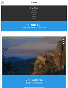 Screenshot of Travel Guide theme for WordPress El Greco on Tablet