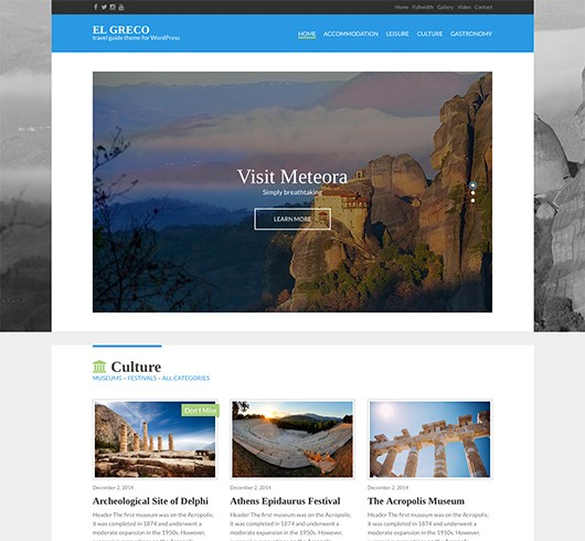 Screenshot of Travel Guide theme for WordPress El Greco