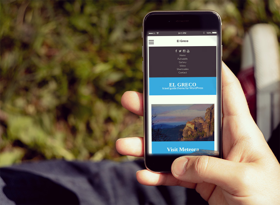 Screenshot of Travel Guide theme for WordPress El Greco on Smartphone