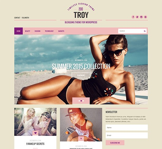 Screenshot of Blogging theme for WordPress Troy